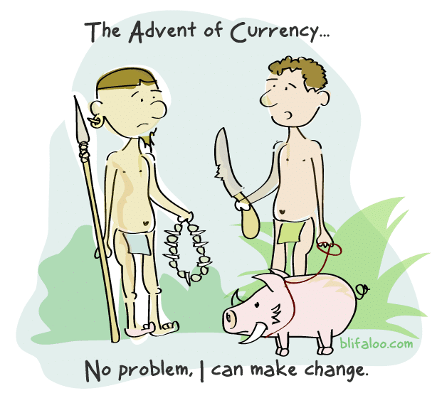 Cartoon reads: No problem, I can make change