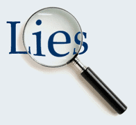 "Magnifying glass over the word ""lies""."